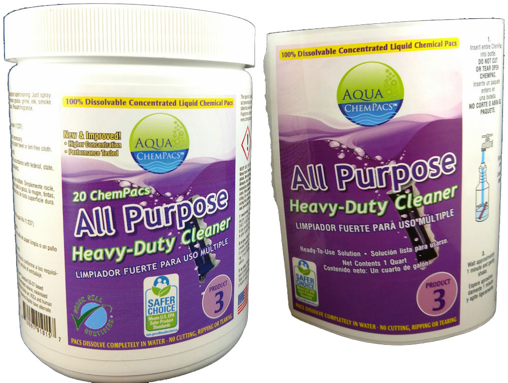 All Purpose Heavy Duty Cleaner 20 pack Jar - Aqua Chempacs