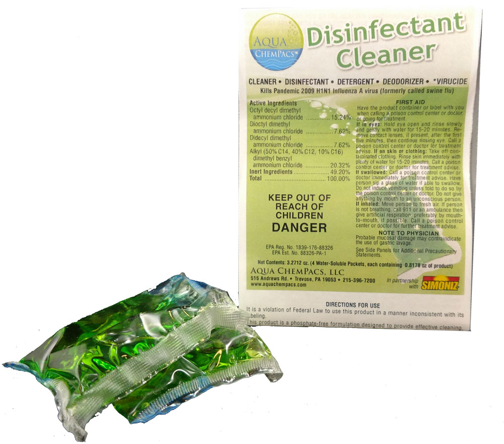 Disinfectant Cleaner 4 pack Clamshell - Aqua Chempacs